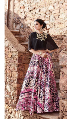 Cape Top With Printed Lehenga